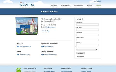 Screenshot of Contact Page navera.com - Navera | Contact Us - captured Sept. 16, 2014