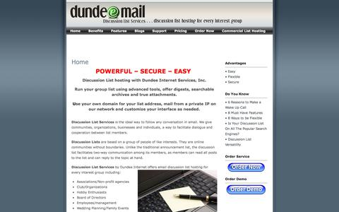 Screenshot of Home Page discussionlistservices.com - Email Discussion Group List Hosting with Dundee Internet - captured Feb. 8, 2018