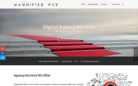 Screenshot of Services Page magnifiedweb.com - Agency Services Provided | Magnified Web - captured April 11, 2016