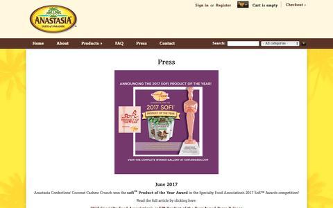 Screenshot of Press Page anastasiaconfections.com - News and Media Info | Anastasia Confections - captured Nov. 12, 2018