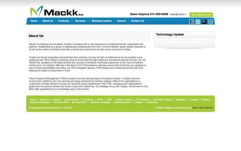 Screenshot of About Page mackk.in - Mackk Networks - captured Feb. 3, 2016