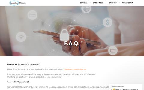 Screenshot of FAQ Page candidatemanager.net - Candidate Manager says… - captured Sept. 6, 2019