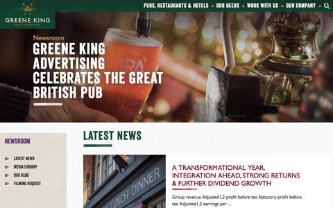 Screenshot of Press Page greeneking.co.uk - Greene King | Newsroom - captured July 19, 2016