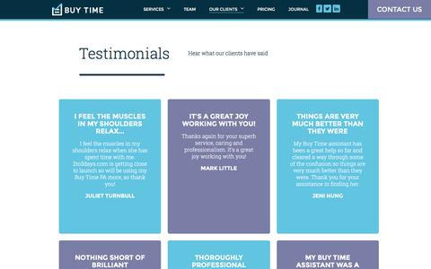 Screenshot of Testimonials Page buy-time.co.uk - Testimonials - Dedicated PAs & Personal Assistants in London - captured July 31, 2016