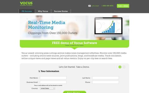 Screenshot of Landing Page vocus.com - Media Monitoring: Vocus PR Software - captured Oct. 27, 2014