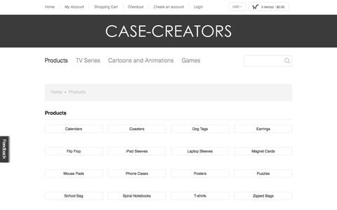 Screenshot of Products Page case-creators.com - Products - captured Sept. 29, 2014