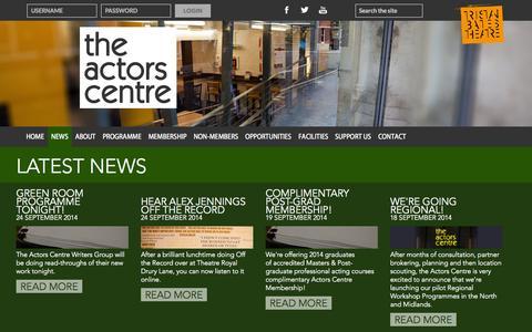 Screenshot of Press Page actorscentre.co.uk - News | The Actors Centre - captured Sept. 30, 2014