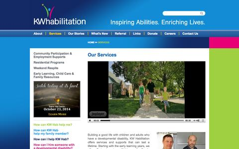 Screenshot of Services Page kwhab.ca - Services   KW Habilitation - captured Oct. 6, 2014