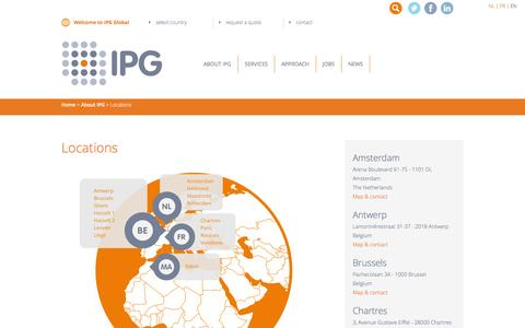 Screenshot of Locations Page ipggroup.eu - Contact centres in Belgium, France, The Netherlands and Morocco | IPG - captured Feb. 4, 2016