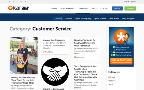 Screenshot of Support Page teamsnap.com - Customer Service - Part 2 - captured March 2, 2017