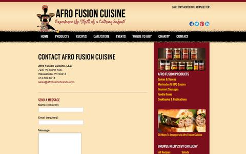 Screenshot of Contact Page afrofusionbrands.com - Contact us |Afro Fusion Cuisine - captured May 9, 2016