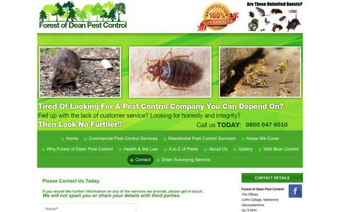 Screenshot of Contact Page forestofdeanpestcontrol.co.uk - Contact - captured Aug. 20, 2018