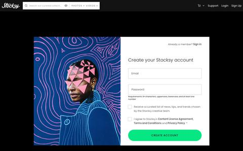 Screenshot of Signup Page stocksy.com - Stocksy United – Premium, royalty-free stock photography and cinematography – Signup - captured Feb. 18, 2020