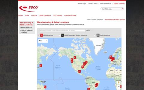 Screenshot of Locations Page escocorp.com captured Oct. 15, 2016