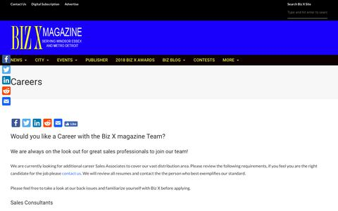 Screenshot of Jobs Page bizxmagazine.com - Join our sales team and start a career at Biz X magazine - captured Nov. 6, 2018