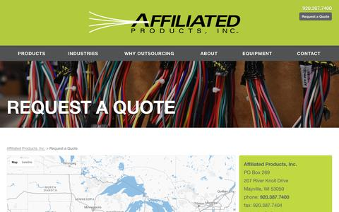 Screenshot of Contact Page affprod.com - Affiliated Products, Inc.  Request a Quote - captured Nov. 20, 2016