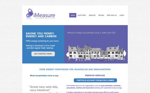 Screenshot of Home Page Terms Page imeasure.org.uk - iMeasure - home energy monitoring and management to reduce energy, money and carbon emissions - Home energy monitoring - to reduce bills - captured Oct. 6, 2014