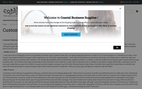Screenshot of Testimonials Page coastalbusiness.com - Customer Testimonials- Coastal Business Supplies | Coastal Business Supplies - captured June 27, 2017