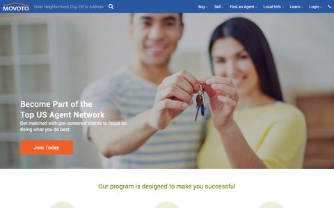 Screenshot of Signup Page movoto.com - Become a Partner Agent - Movoto - captured Aug. 13, 2016