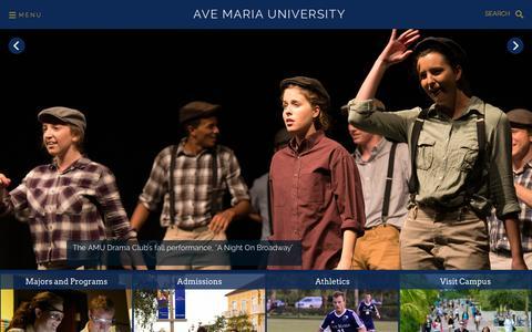 Screenshot of Home Page avemaria.edu - Ave Maria University | Faithful Catholic College in Southwest Florida - captured Nov. 13, 2015