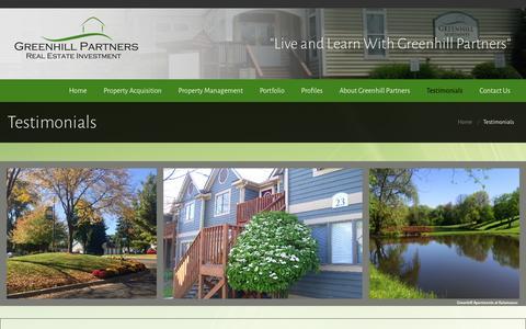 Screenshot of Testimonials Page greenhillpart.com - Greenhill Partners | Greenhill Partners | Testimonials - captured Oct. 3, 2014