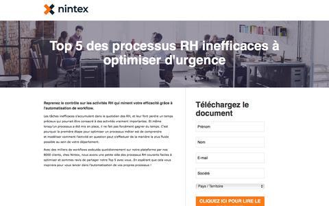 Screenshot of Landing Page nintex.com - Top 5 des processus RH inefficaces à optimiser d'urgence - captured Sept. 21, 2018