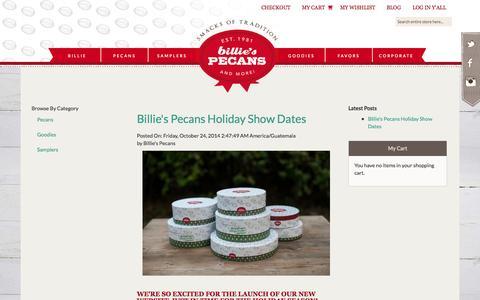 Screenshot of Press Page billiespecans.com - Blog - captured Oct. 29, 2014