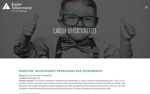 Screenshot of Jobs Page myja.org - Careers — Junior Achievement of Greater Washington - captured Oct. 14, 2018