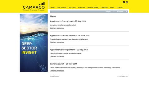 Screenshot of Press Page camarco.co.uk - News | Camarco - captured Sept. 27, 2014