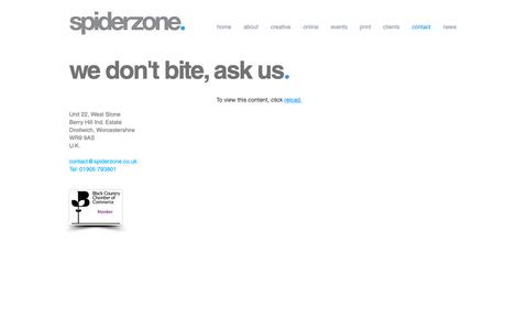 Screenshot of Contact Page spiderzone.co.uk - CONTACT SPIDERZONE | MARKETING & DESIGN AGENCY | DROITWICH UK - captured Oct. 18, 2018