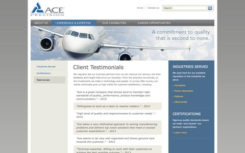 Screenshot of Testimonials Page aceprecision.com - Customer Testimonials | Complete Engineering Services | Manufacturing to Re-manufacturing - captured Feb. 5, 2016
