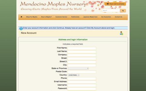 Screenshot of Signup Page mendocinomaples.com - Mendocino Maples Nursery - Account Details - captured Oct. 4, 2014