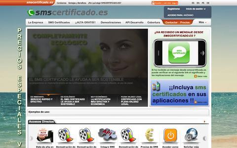 Screenshot of Home Page smscertificado.es - Envia MENSAJES SMS CERTIFICADOS a moviles desde tu ordenador, mensajes SMS y CERTIFICADOS a moviles. Plataforma movil de SMS - captured Sept. 20, 2015