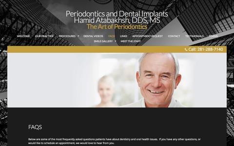 Screenshot of FAQ Page perioworks.com - Periodontics and Dental Implants - FAQs - captured July 14, 2017