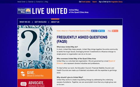 Screenshot of FAQ Page unitedwayqc.org - Frequently Asked Questions (FAQs)  United Way of the Quad Cities Area - captured Oct. 19, 2017