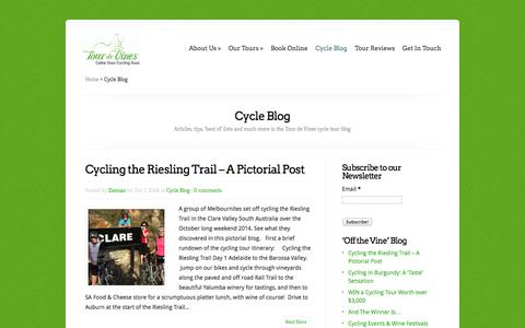 Screenshot of Blog tourdevines.com.au - Tips, stories, 'Best of' lists and more from our cycling tour blog - captured Oct. 7, 2014