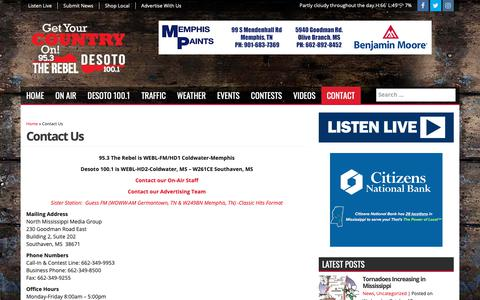 Screenshot of Contact Page mississippicountry.com - Contact Us - 95.3 The Rebel WEBL-FM - captured Oct. 18, 2018
