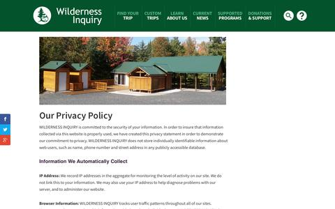 Screenshot of Privacy Page wildernessinquiry.org - Privacy Policy - Wilderness Inquiry - captured Nov. 5, 2017