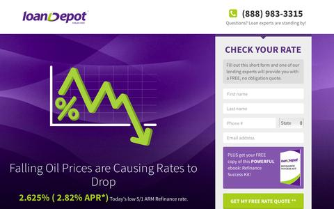 Screenshot of Landing Page loandepot.com - loanDepot - Start Saving Now! - captured Feb. 17, 2016
