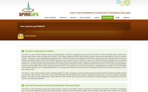 Screenshot of Case Studies Page spireops.com - Inventory Optimization, SAP SCM APO Implementation, SC Transformation - SPIREOPS Inc. - captured Oct. 1, 2018