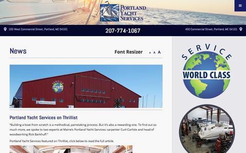 Screenshot of Press Page portlandyacht.com - News | Portland Yacht Services | Events - captured Nov. 8, 2016