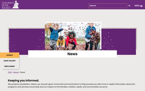 Screenshot of Press Page chssd.org - News   Children's Home Society of South Dakota - captured Sept. 27, 2018