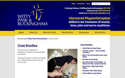 Screenshot of Case Studies Page wpbphysio.co.uk - Case Studies - Witty, Pask & Buckingham - captured Oct. 7, 2014