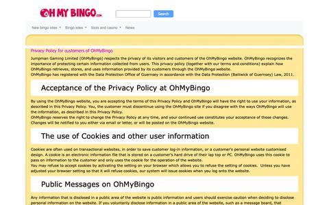 Screenshot of Privacy Page ohmybingo.com - Privacy Policy | OhMyBingo Free Play Game - captured Jan. 31, 2019