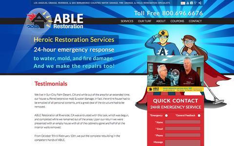 Screenshot of Testimonials Page ablerestoration.net - Restoration Client Testimonials | Able Restoration - captured Sept. 30, 2014
