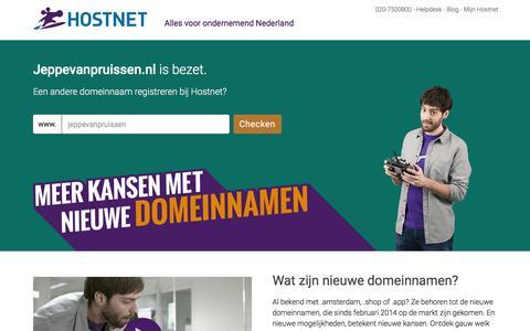 Screenshot of Home Page jeppevanpruissen.nl - Hostnet: De grootste domeinnaam- en hostingprovider van Nederland. - captured Feb. 1, 2016