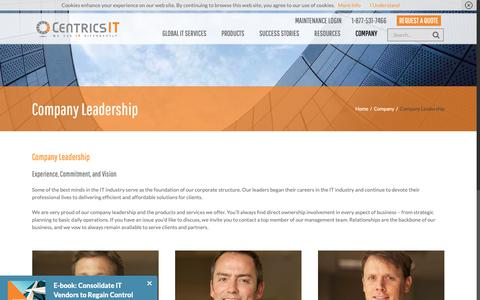 Screenshot of Team Page centricsit.com - Company Leadership - CentricsIT - captured Oct. 18, 2018