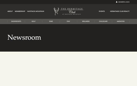 Screenshot of Press Page hermitageclub.com - Newsroom » The Hermitage Club - captured Feb. 19, 2018
