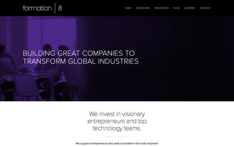 Screenshot of Home Page formation8.com - Formation 8   Building Great Companies to Transform Global Industries - captured Dec. 1, 2015