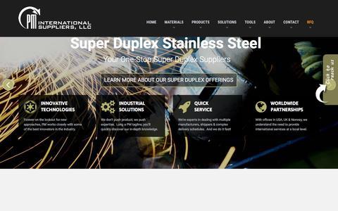 Screenshot of Home Page pmfirst.com - 6 Moly Super Duplex Copper Nickel Titanium - captured Sept. 25, 2018